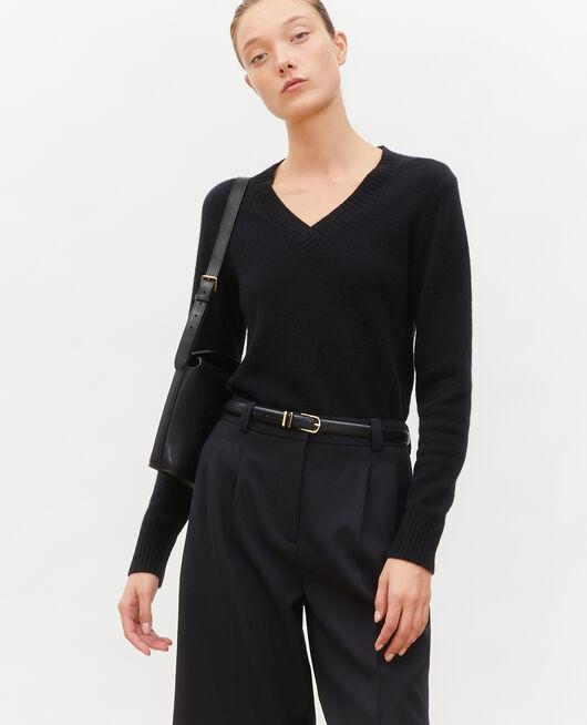 Jersey de cachemir con cuello de pico BLACK BEAUTY