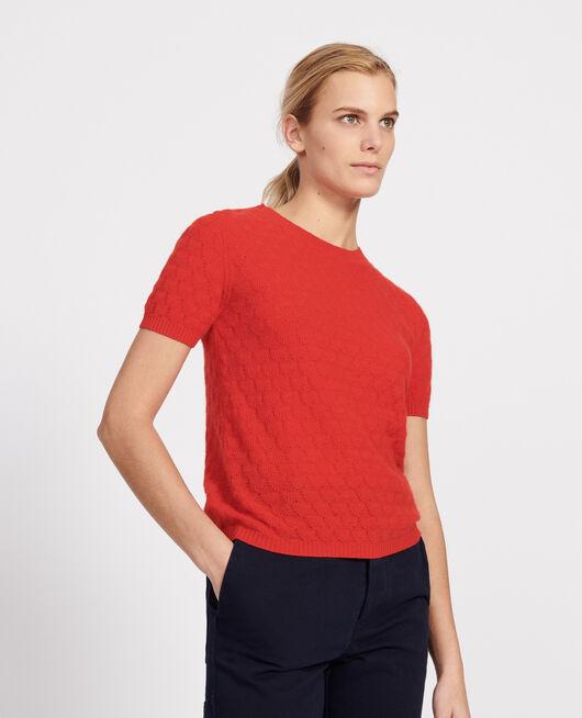 Jersey con escote redondo, 100% Cachemir  FIERY RED