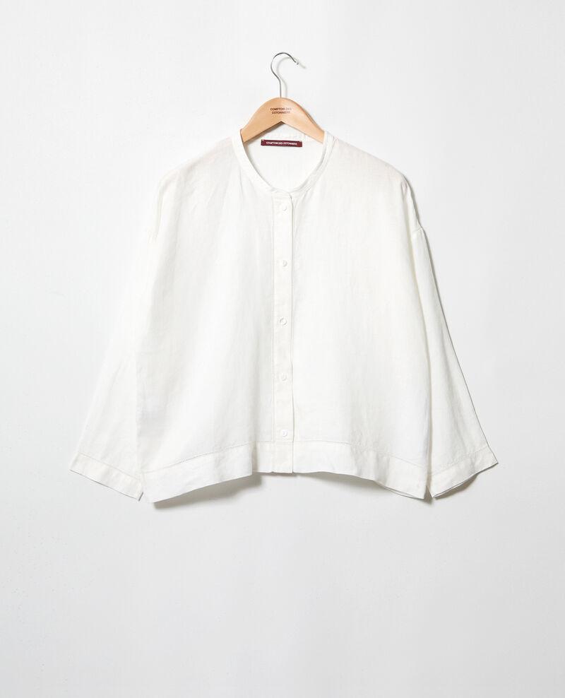 Blusa con cuello mao de lino Off white 9izera
