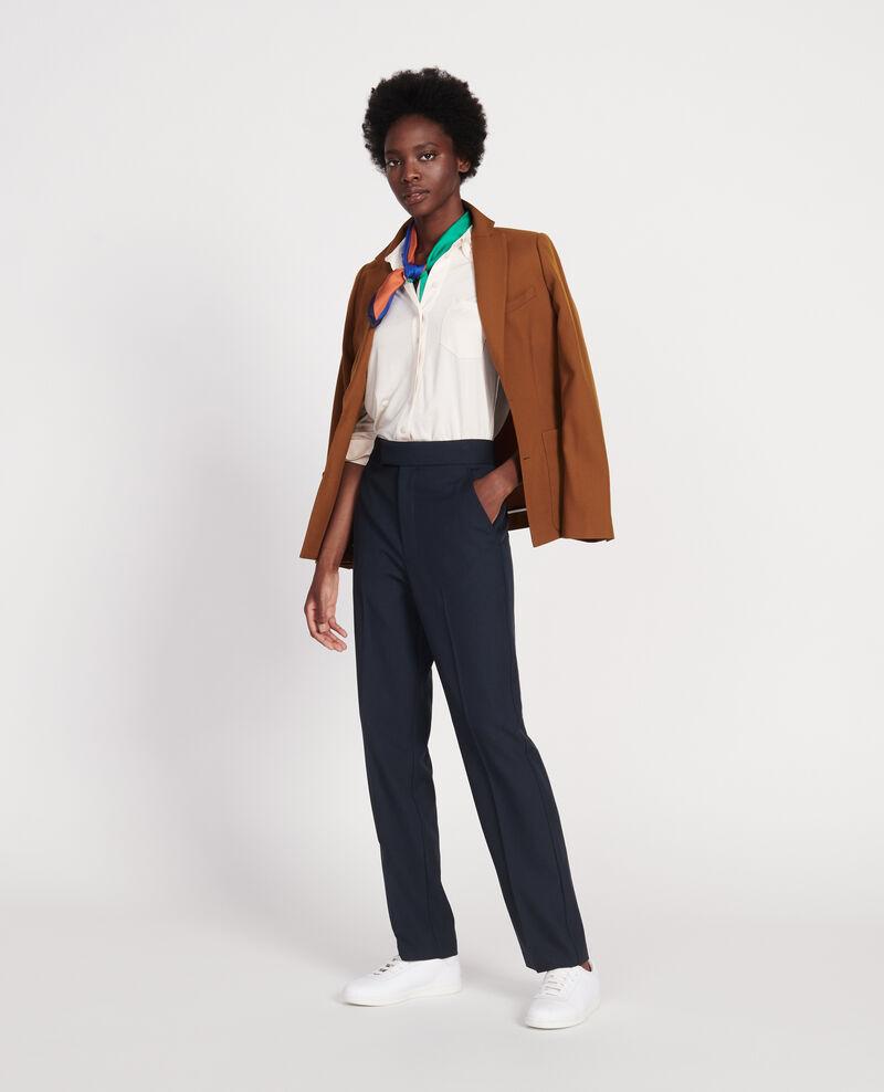 Pantalón recto de lana lisa Dark navy Lisabelle
