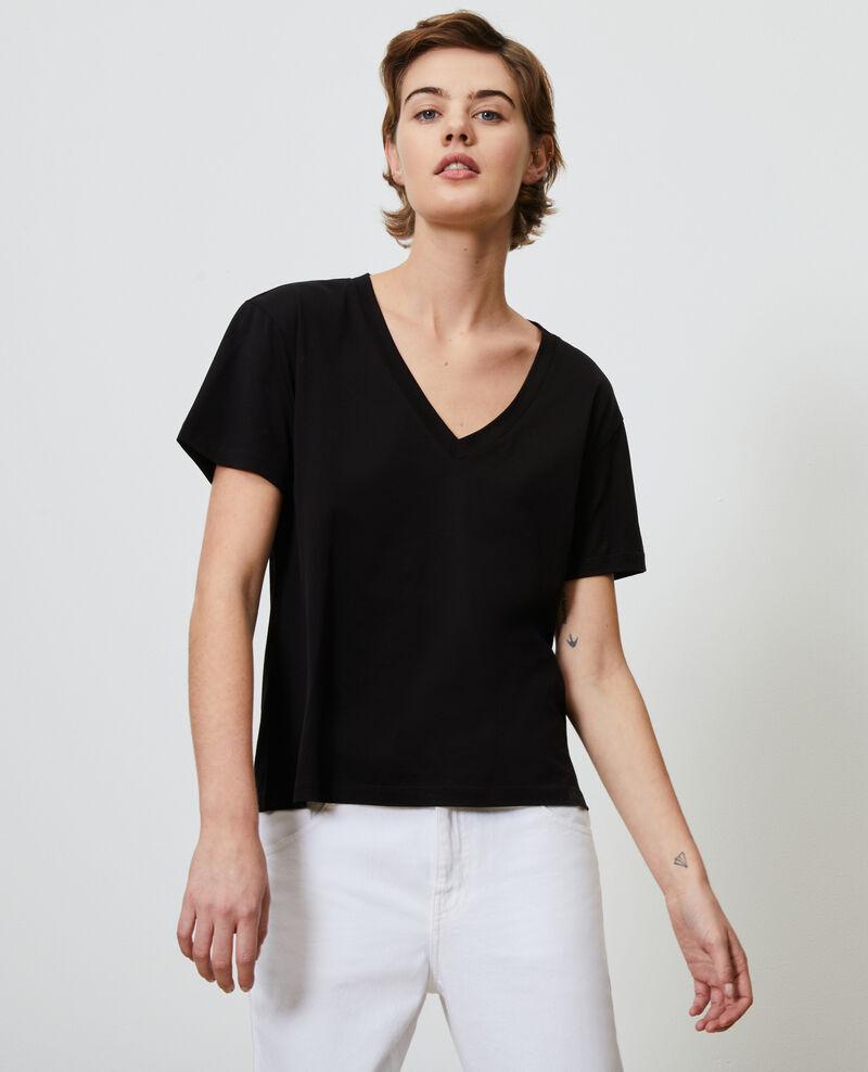 Camiseta de algodón con cuello de pico Black beauty Laberne