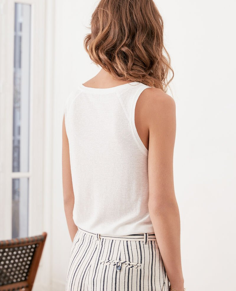 Camiseta de tirantes irisada con lino Off white Fofie