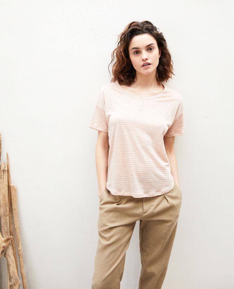 Camiseta brillante con lino Pink beige Imape