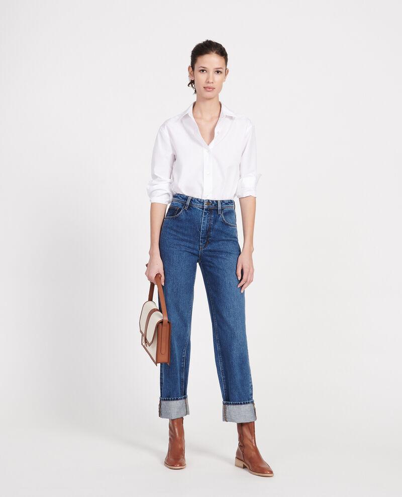 Jeans talle alto y corte recto Denim medium wash Leodou