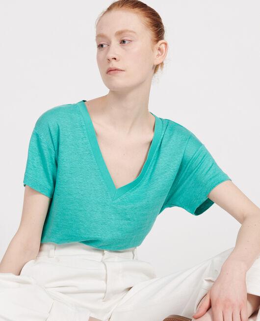 Camiseta de lino de jersey BRIGHT AQUA