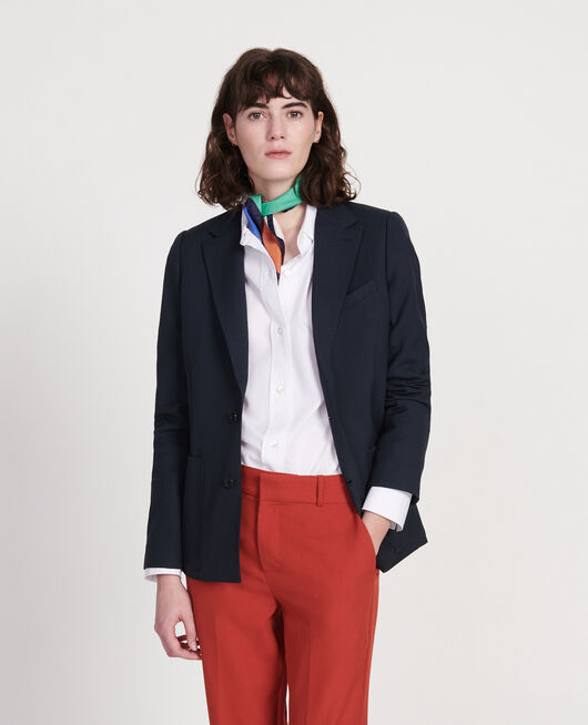 Blazer de lana lisa DARK NAVY