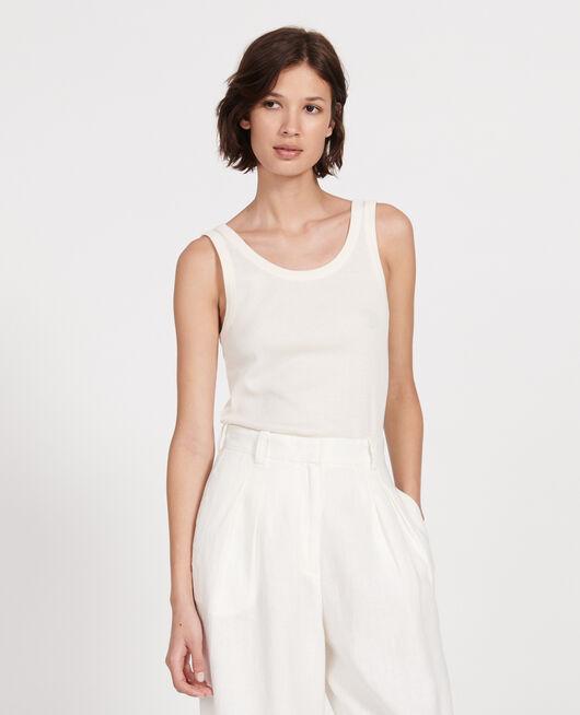 Camiseta de tirantes de algodón mercerizado con canalé BUTTERCREAM