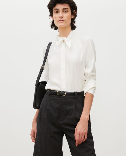 Blusa de seda con manga larga y cuello para atar GARDENIA