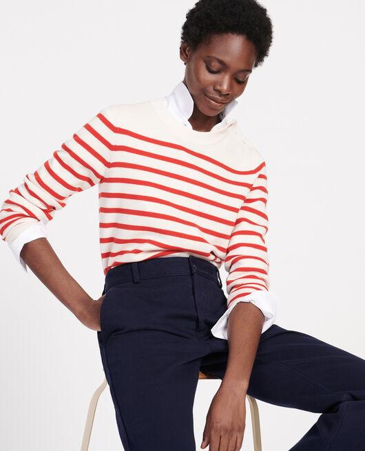 Jersey de lana atemporal STRIPES FIERY RED GARDENIA