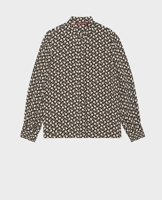 Blusa con manga larga y estampado floral PRINT FLEURETTES BLACK LATTE