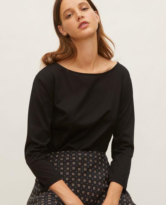 Camiseta de algodón con cuello barco y manga larga BLACK BEAUTY