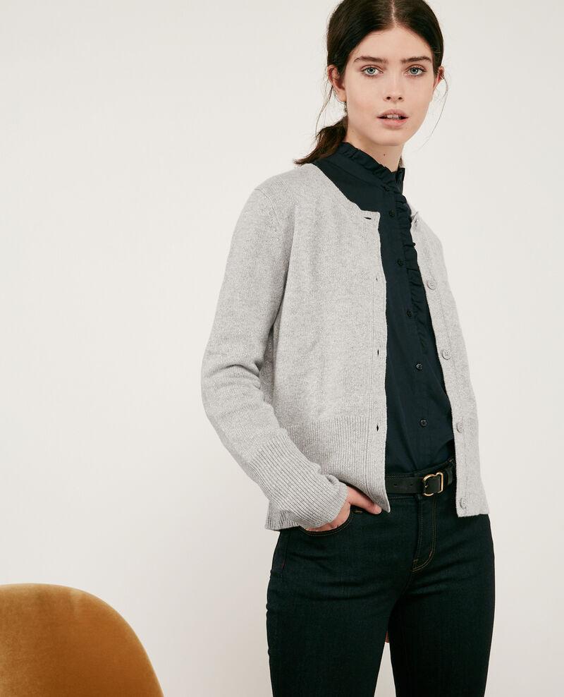 Cárdigan brillante con lana Light grey Donovan
