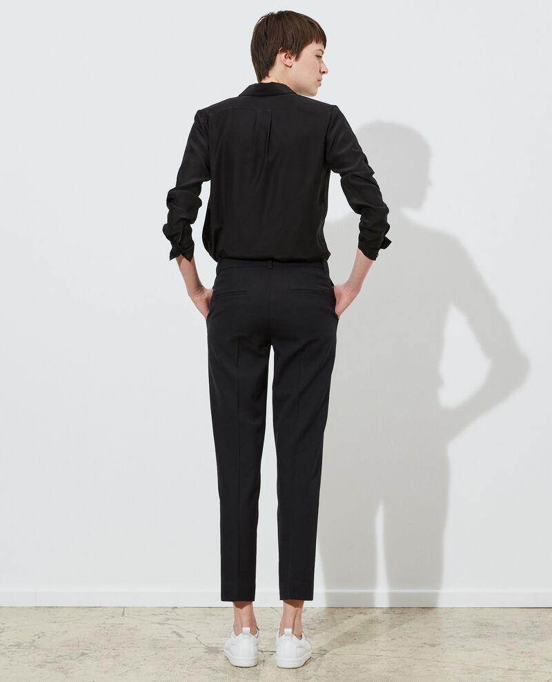 Pantalón MARGUERITE, 7/8 cigarette de lana Black beauty Noko