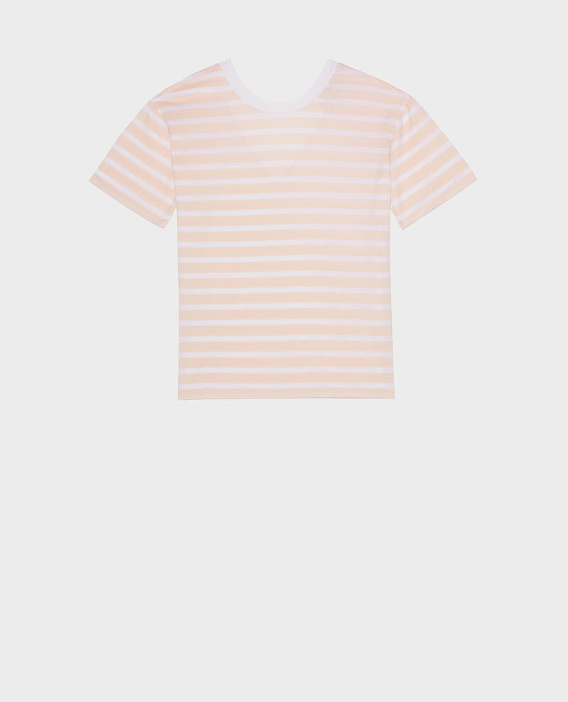 Camiseta de algodón egipcio Stripes primrose pink optical white Lisou