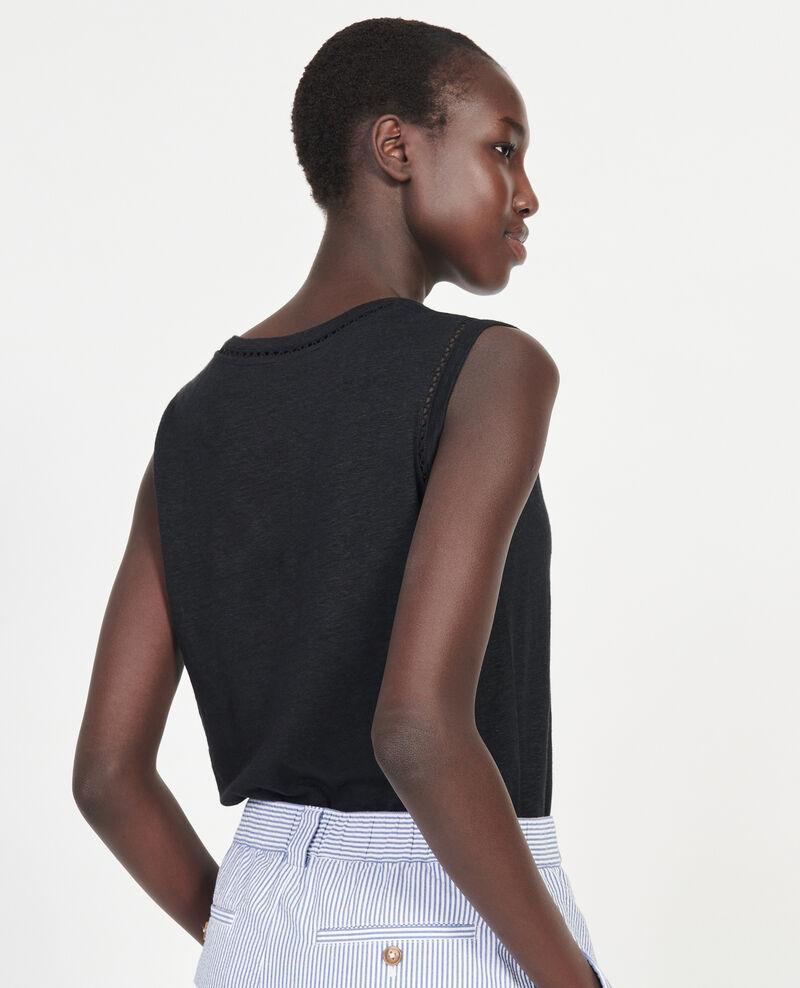 Camiseta de lino de jersey con tirantes Black beauty Lespa