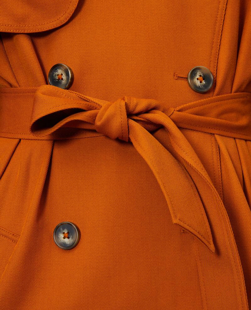Trench largo fluido de lana Pumpkin spice Messimy
