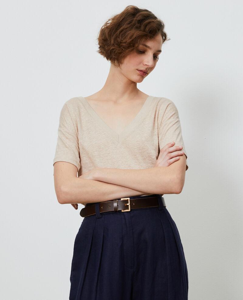 Camiseta de lino con cuello de pico Oxford tan Locmelar