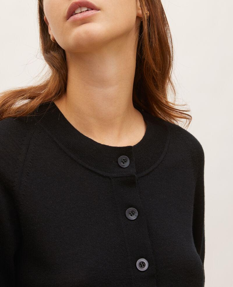 Cárdigan de lana merino con cuello redondo Black beauty Molinot