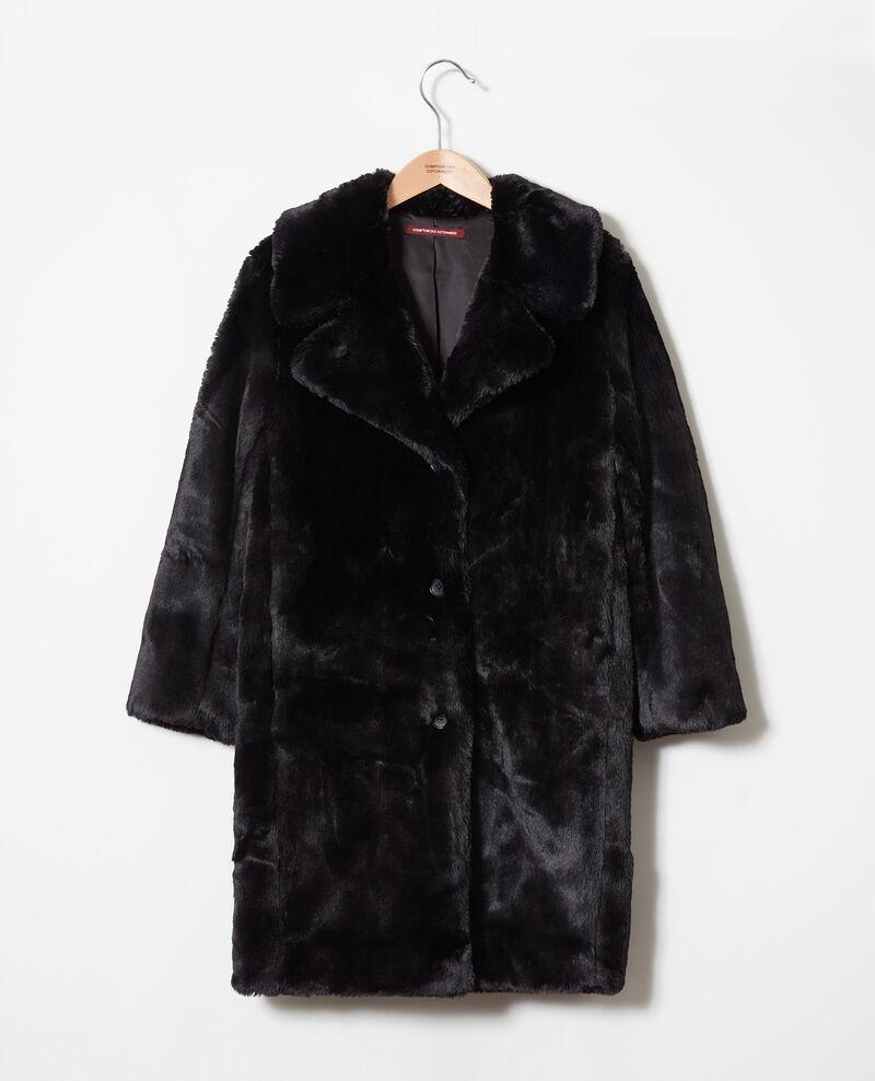 Abrigo de piel sintética Noir Jaout