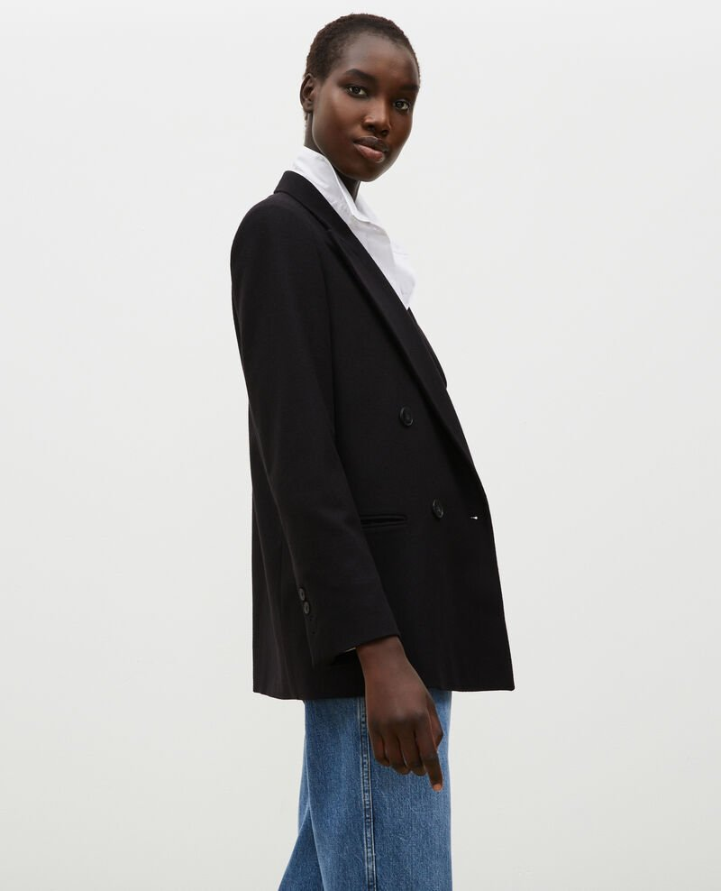 Blazer cruzado de lana Black beauty Muciane