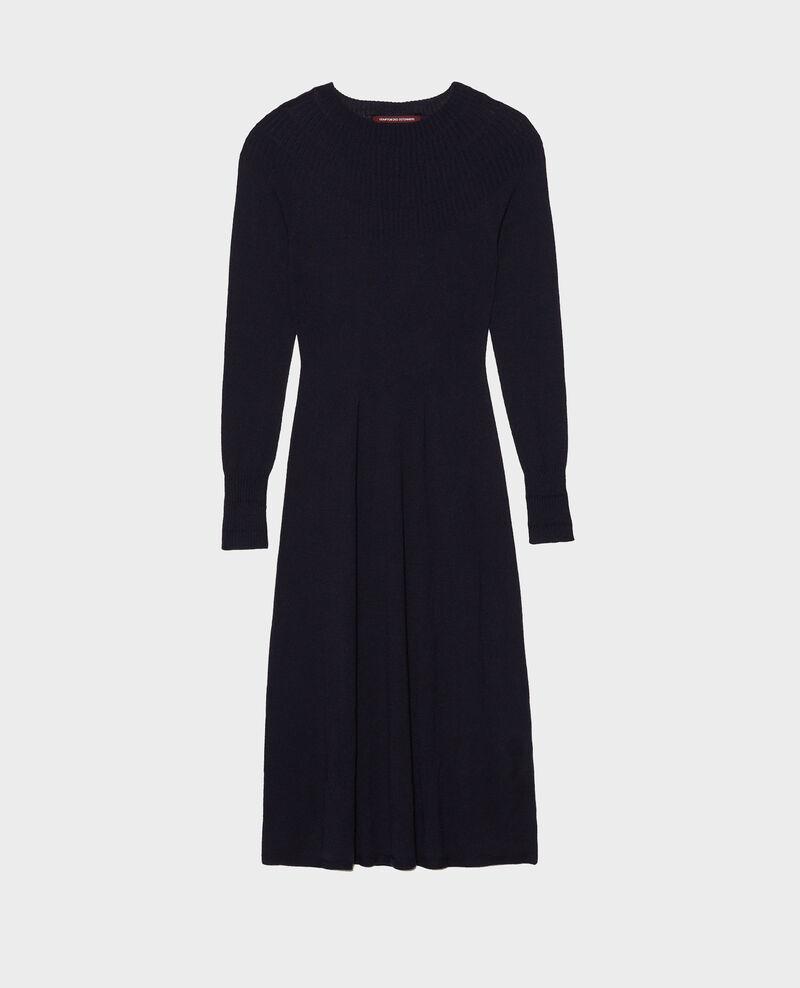 Vestido evasé de lana merino Night sky Malouy