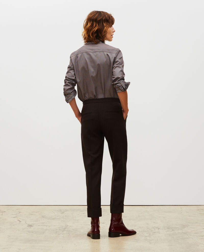 Pantalones MARGUERITE, 7/8 tapered de lana  Coffee bean Mokita