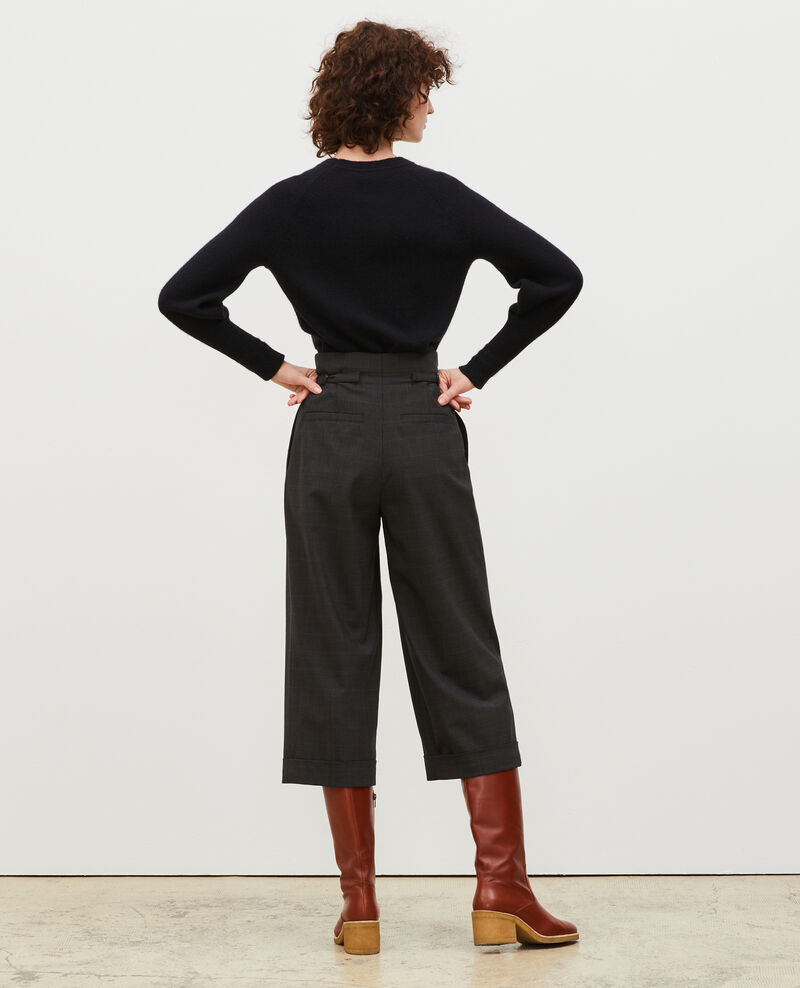 Pantalón corto, con puños, en lana Príncipe de Gales Check-wool-pattern-tailoring Mirboz