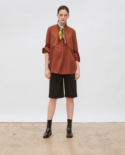 Camisa de algodón oversize con pechera TORTOISE SHELL