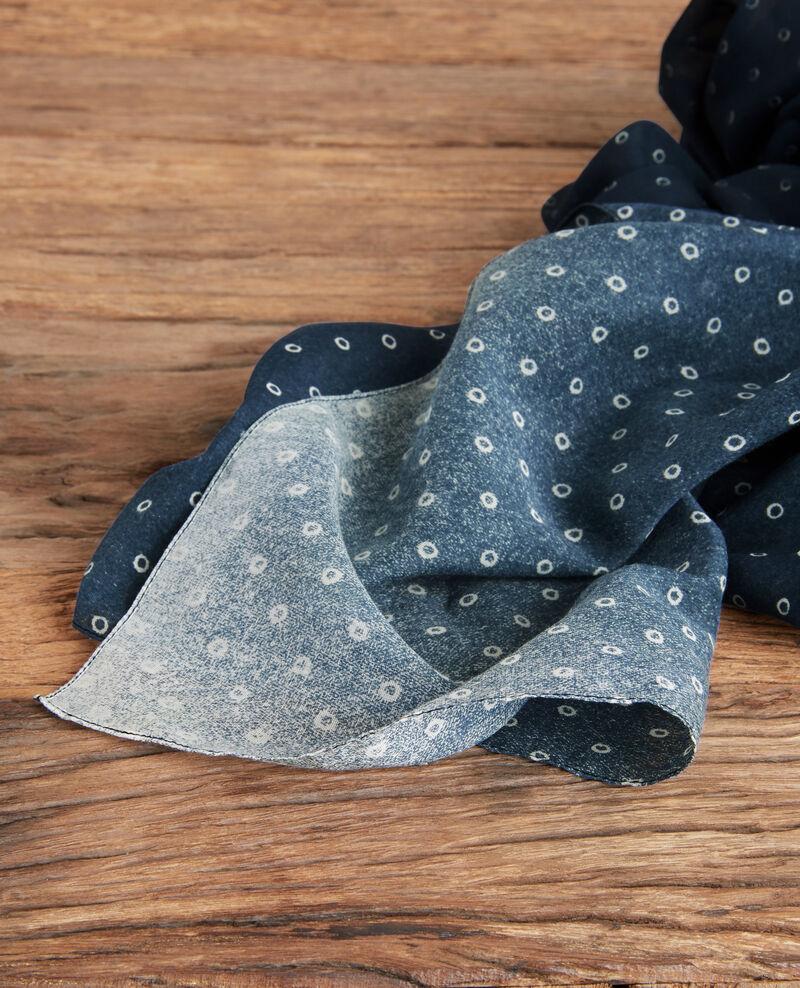 Fular estampado de algodón y seda Ring dots indigo Forban