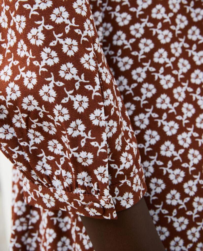 Vestido cruzado evasé con estampado floral Print fleurettes tortoise shell Miremonta