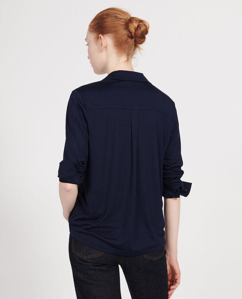 Camisa de punto jeysey de seda Maritime blue Leanor