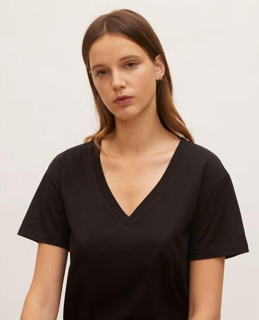 Camiseta de algodón con cuello de pico y manga corta BLACK BEAUTY