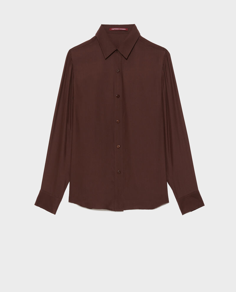 Camisa masculina de seda con manga larga Coffee bean Moriges