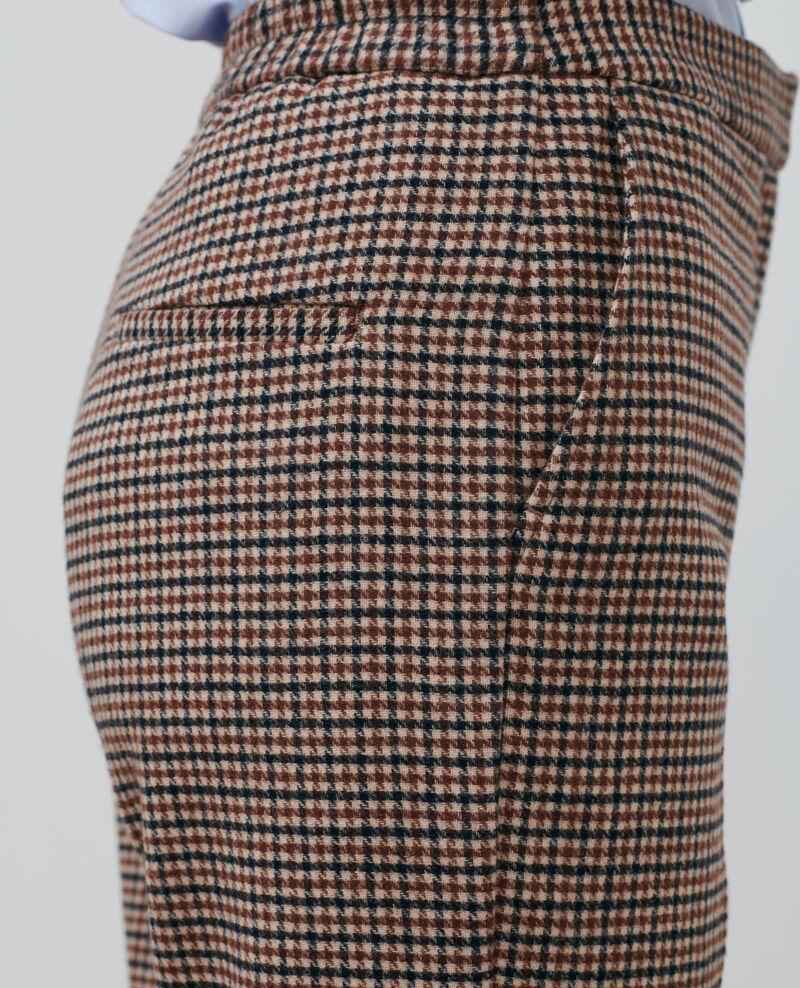 Pantalón MARGUERITE, 7/8 de lana mezclada Check Popeille