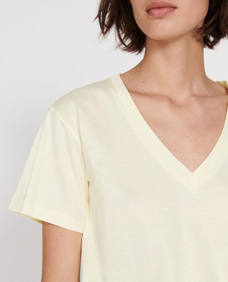 Camiseta de algodón con cuello de pico y manga corta Tender yellow Laberne