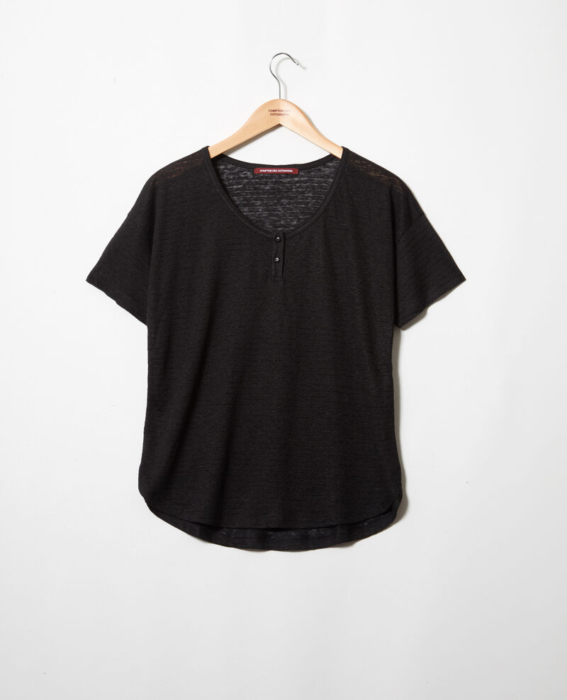 Camiseta brillante con lino Noir Imape