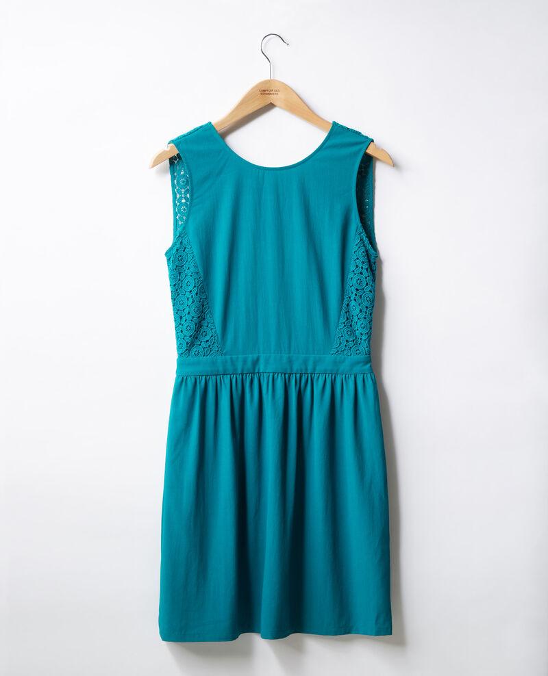 Vestido escote de pico en la espalda con encaje   Pacific green Farseille