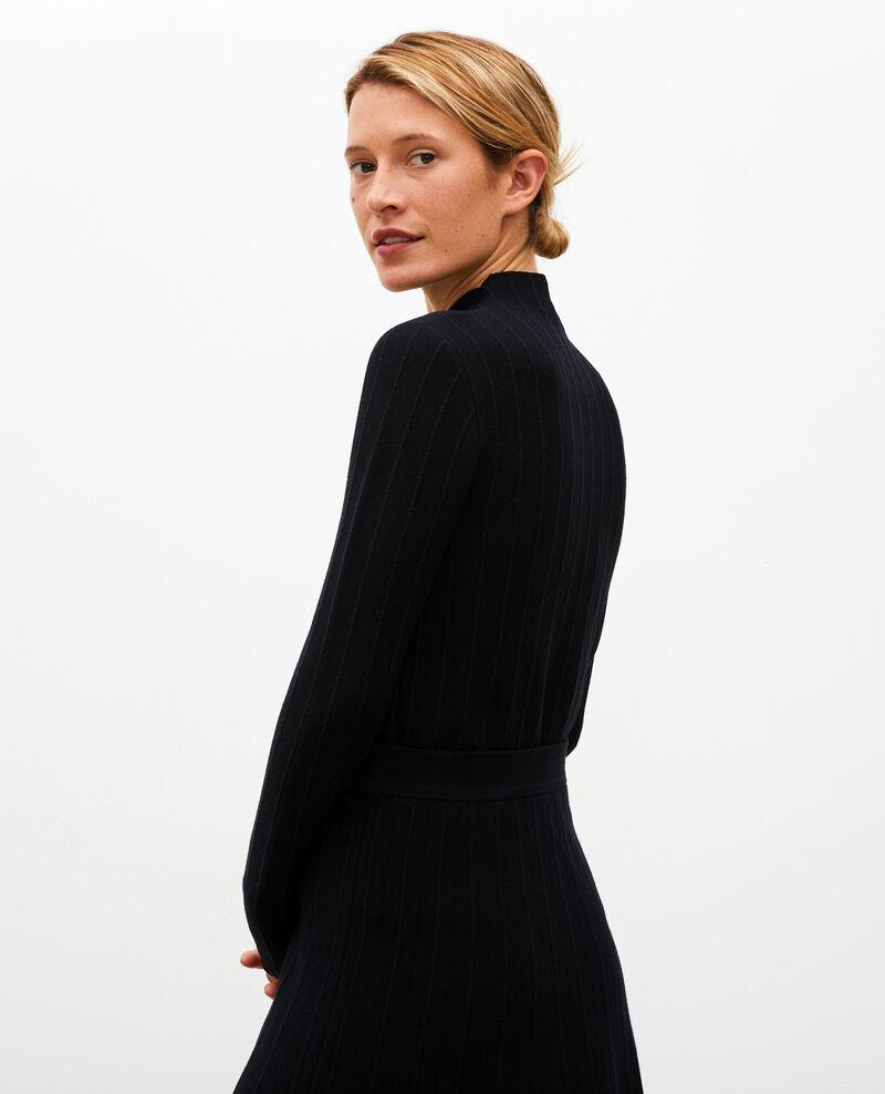 Jersey de lana merino con cuello subido Black nightsky jacquard Marquisa