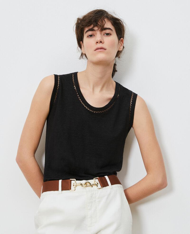 Camiseta de lino con tirantes Black beauty Lespa