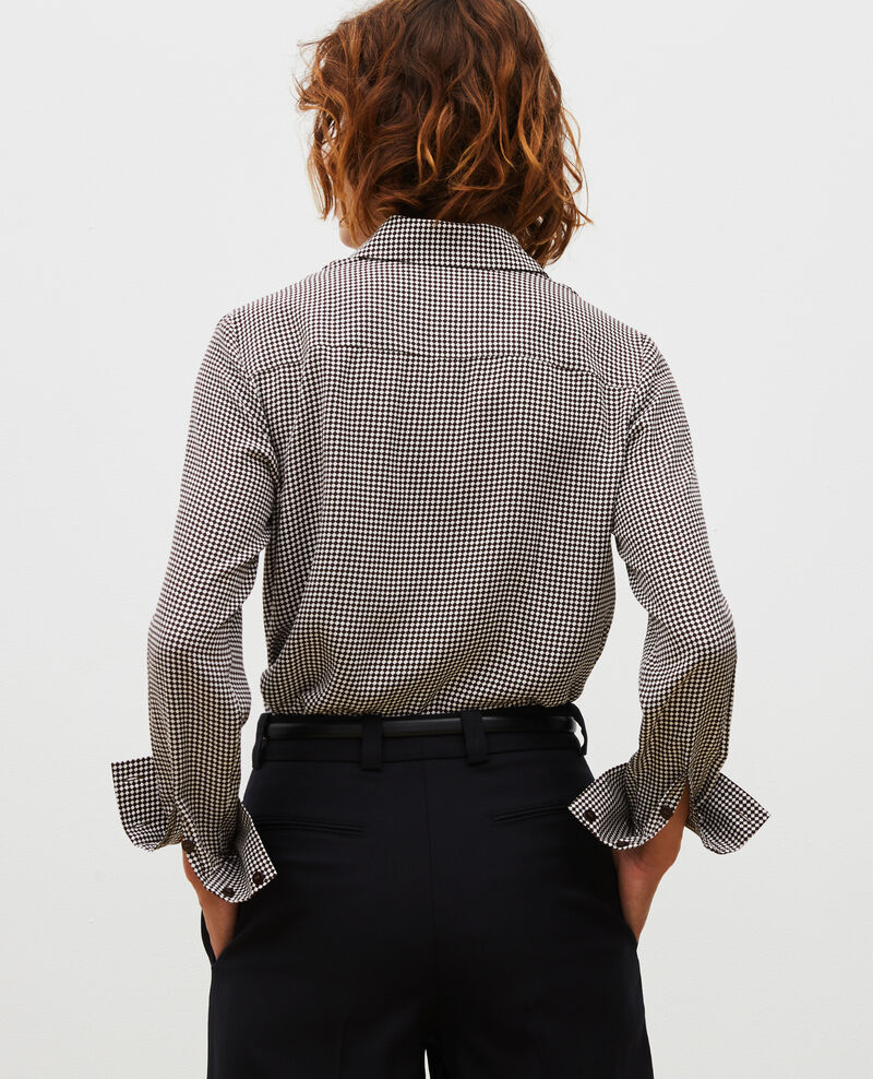 Camisa de seda con manga larga Print damiers coffee bean Misabethou