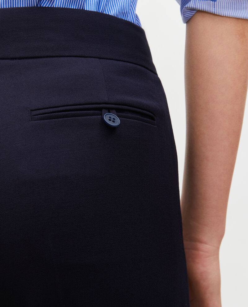 Pantalón MARCELLE, recto de lana estilo masculino Night sky Misabelle