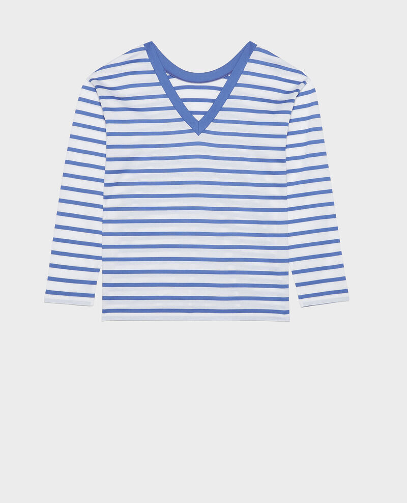 Camiseta de algodón egipcio Stripes optical white amparo blue Lana