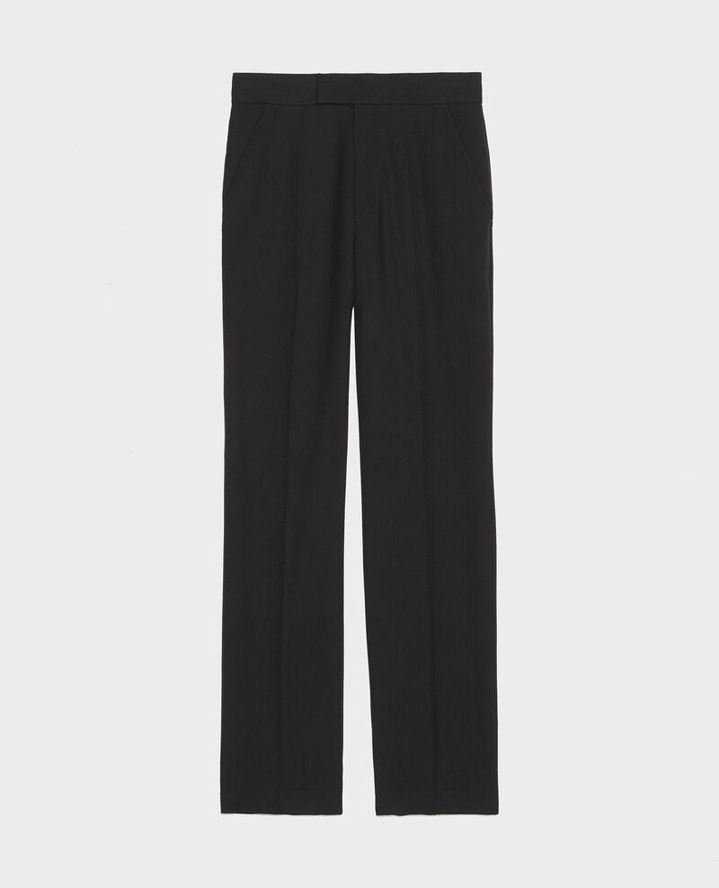 Pantalón MARCELLE, recto de lana estilo masculino Black beauty Lisabelle