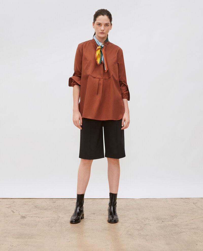 Camisa de algodón oversize con pechera Tortoise shell Mime