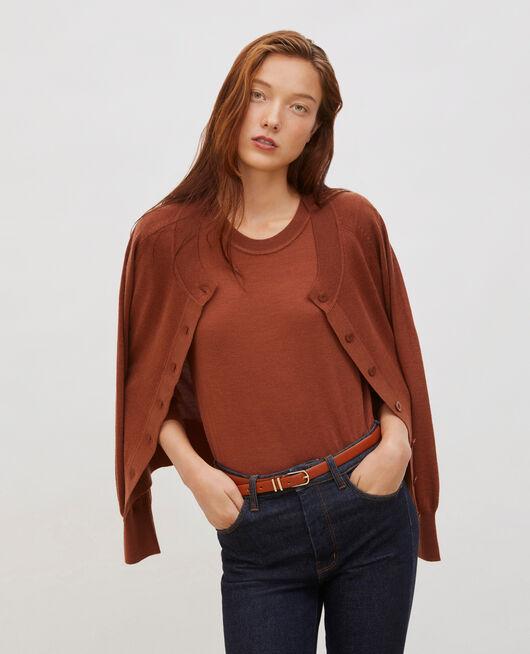 Jersey de lana merino con cuello redondo TORTOISE SHELL