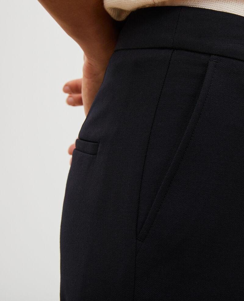 Pantalón MARGUERITE, 7/8 cigarrette de lana Black beauty Moko