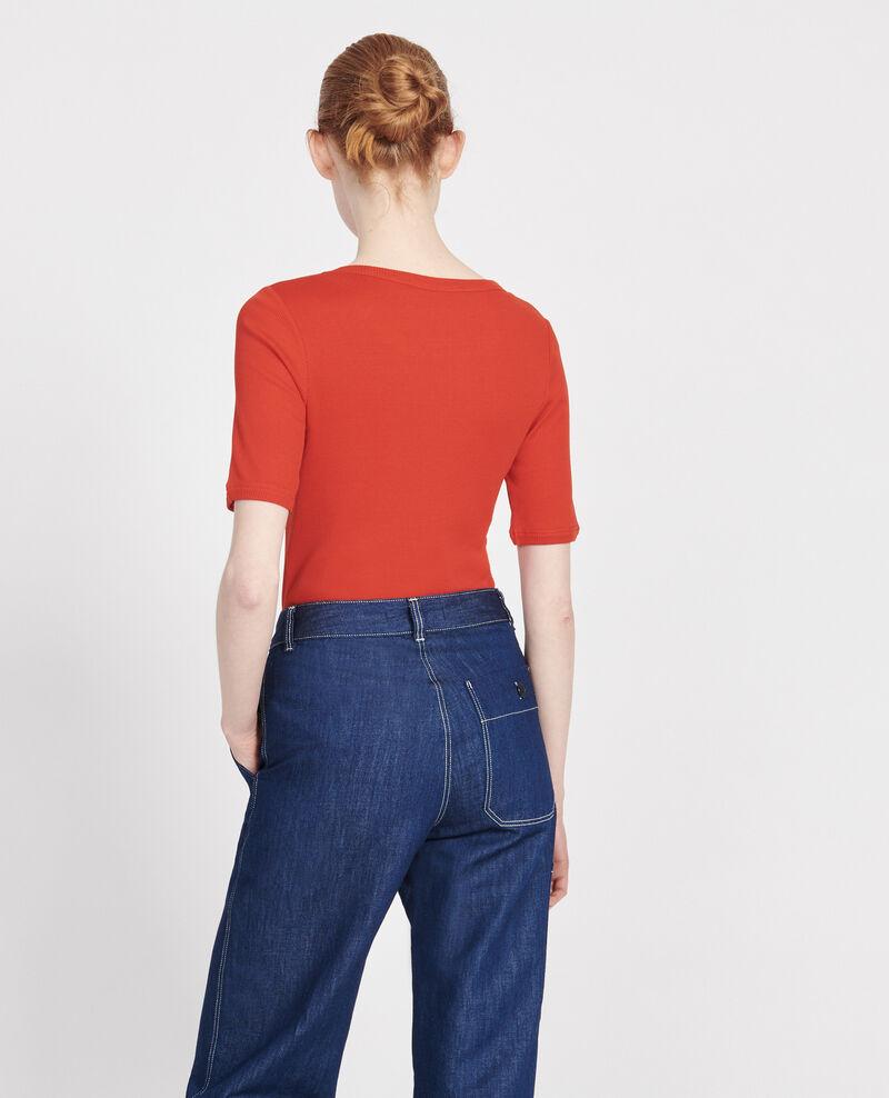 Camiseta fino canalé de algodón mercerizado Fiery red Lasso