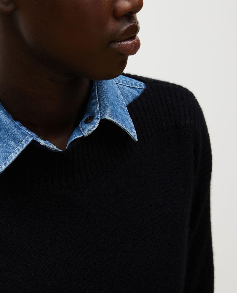 Jersey de cachemir con cuello de barco Black beauty Matelot