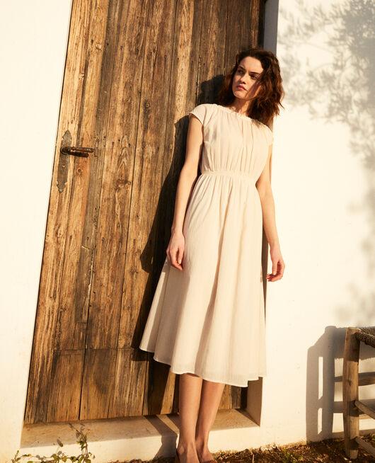 Robe en coton crêpe LINEN/WHITE