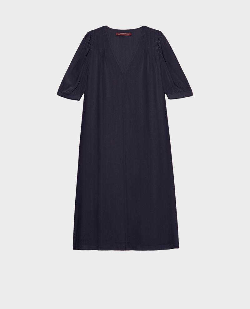 Vestido largo de seda amplio y fluido con cuello de pico Night sky Manthes